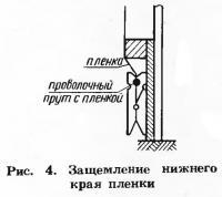 Рис. 4. Защемление нижнего края пленки