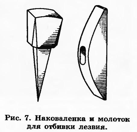 Рис. 7. Наковаленка и молоток для отбивки лезвия