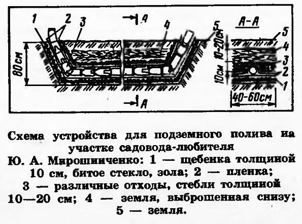 Схема устройства для подземного полива