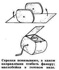 Стрелки показывают, в каком направлении сгибать фанеру; маслобойка в готовом виде