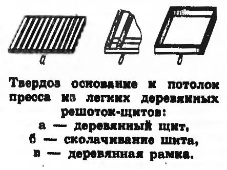 Твердое основание и потолок пресса из легких деревянных решеток-щитов